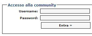 Interfaccia FlexCMP: form di accesso all'Area Riservata