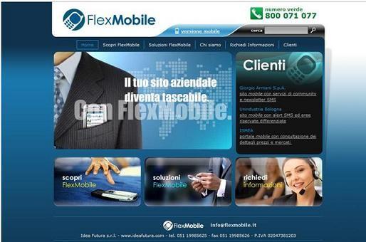 Homepage del sito FlexMobile (modalità Web)