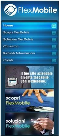 Homepage del sito FlexMobile (modalità Mobi)