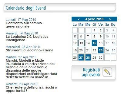 """Calendario eventi sul sito Unindustria Bologna:  il pannello """"Registrati agli eventi"""" dà accesso alla sezione del modulo di iscrizione eventi"""