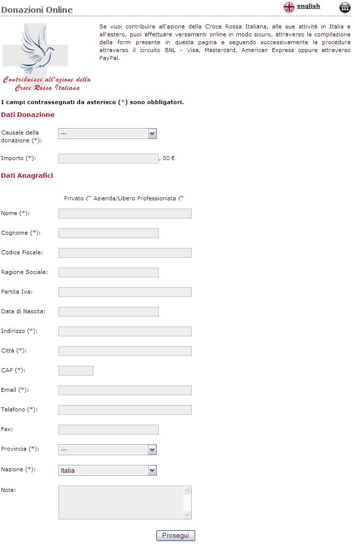 Esempio di form per Donazioni online