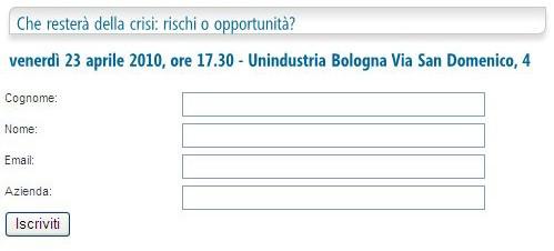 Esempio di form di iscrizione dal sito Unindustria Bologna