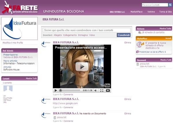 Front end di un Modulo Social Network FlexCMP (social network FARETE di Unindustria Bologna)